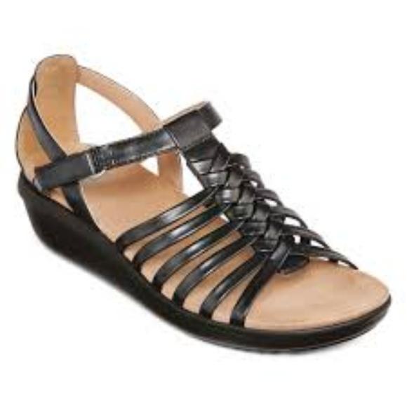 Yuu Fatima Black Wedge Sandals M Euc